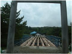 掛け替え中の宇治橋(2009.7)