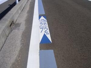 道路上のサイクリングルート表記